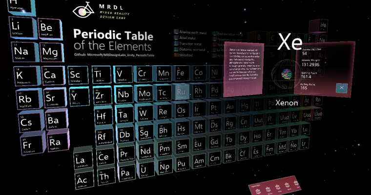 Bringing the Periodic Table of the Elements app to HoloLens 2 with MRTK v2