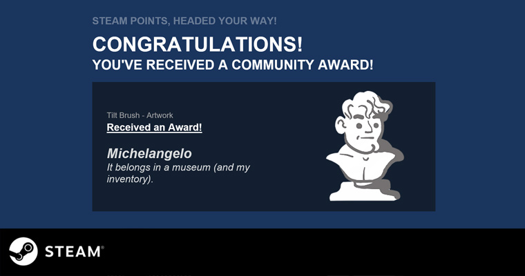 Received Steam Community Award 'Michelangelo' for my Star Wars VR painting